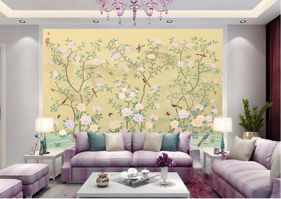 Custom Elegant Chinese flower and bird painting wallpaper papel de parede,living room tv sofa background bedroom larege murals free shipping deconstruction blue bird bird personalized painting large murals mak wallpaper custom size