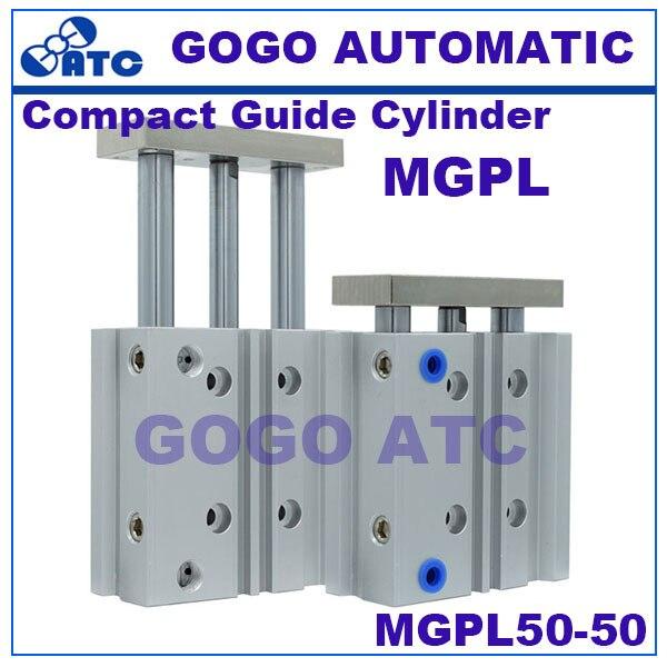 SMC type Compact Guide Cylinder With Air Cushion MGPL50 50 Ball Bushing MGP MGPL series new