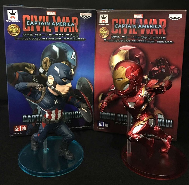 Banpresto Marvel Civil War Iron Man Mark XLVI VS Captian America 2pcs/set PVC Action Figure Collectible Model Toys 13cm KT3183 1 6 scale male head sculpts model toys downey jr iron man 3 captain america civil war tony with neck sets mk45 model collecti f