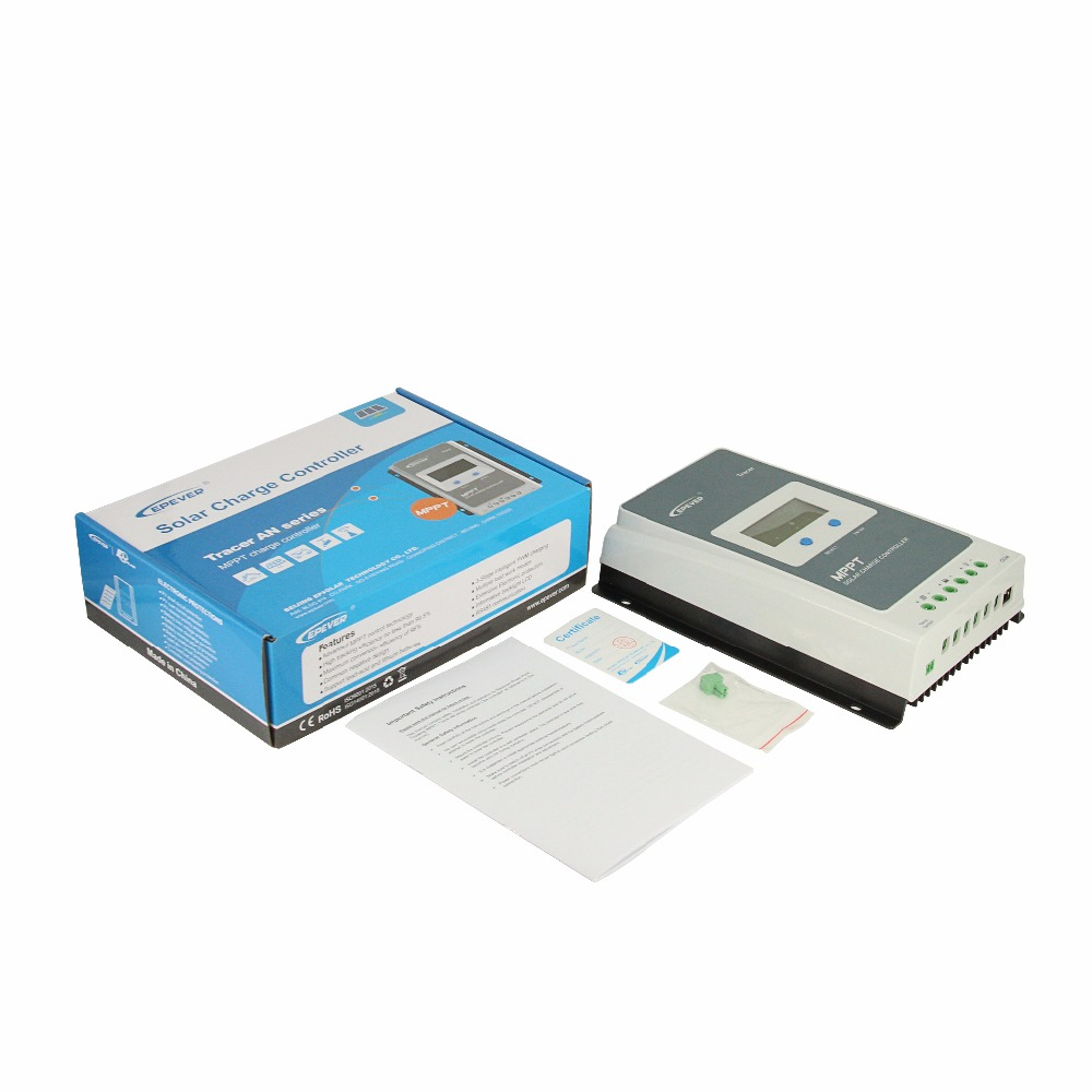 Régulateur de Charge solaire EPever MPPT 40A/30A/20A/10A régulateur solaire LCD à lumière noire pour Batteries Lithium-ion au plomb 12 V 24 V - 6