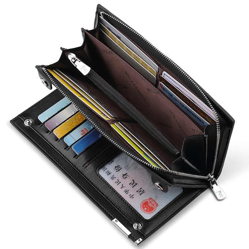 Длинный мужской кошелек из натуральной кожи с пайетками, модный дизайн, кошелек для кредитных карт, коровья кожа