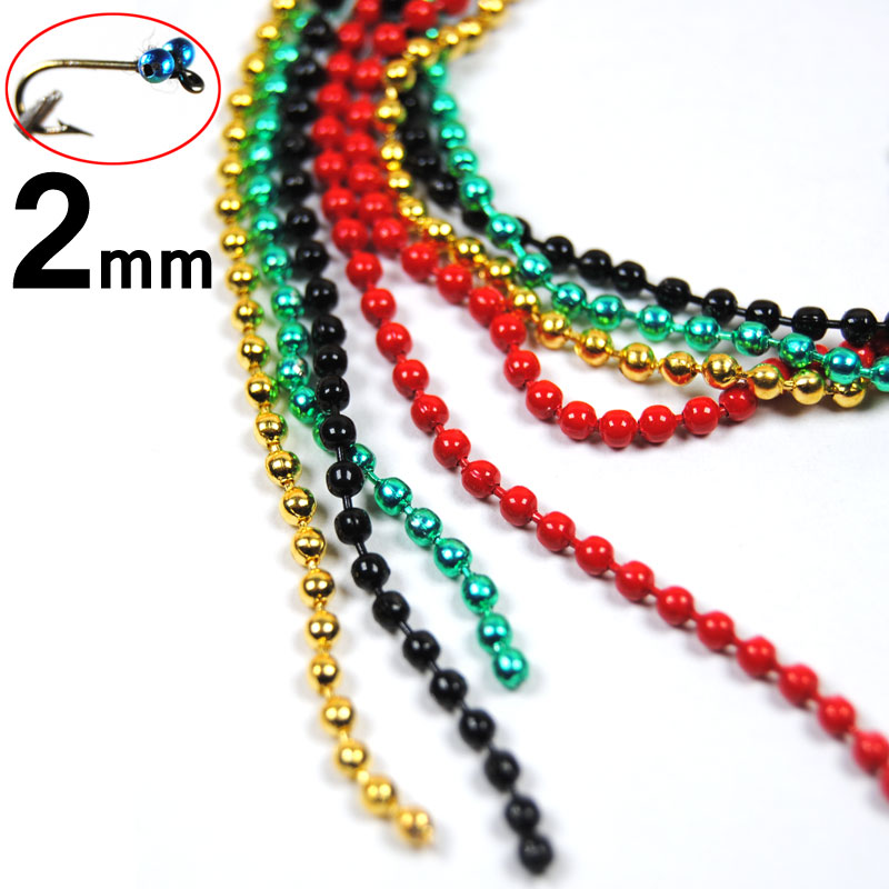 цена на [ 2PCS ] 30cm 2mm Small Fly Tying Bead Chain Eyes Dumbell Chains Multiple Color Black Silver Gold Green Red