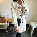 Де Dove2015 новый зимний кардиган свитер Корейской версии патч знак AnKou свободно вязать кардиган свитер пальто женщина