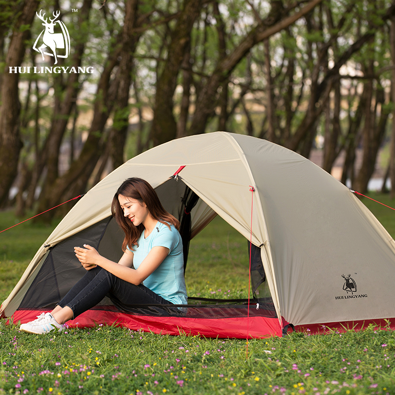 2 Person Camping Tent ultralight 15D Silicone Fabric Tents Waterproof Double Layer Aluminum Rod 4 Season Windproof Tent цена