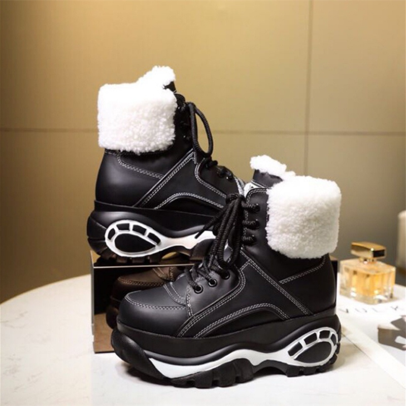 Winter Fashion White Casual Women's Shoes Genuine Leather Platform Sports High Women's Boots New Comfortable Wool Warm Booties
