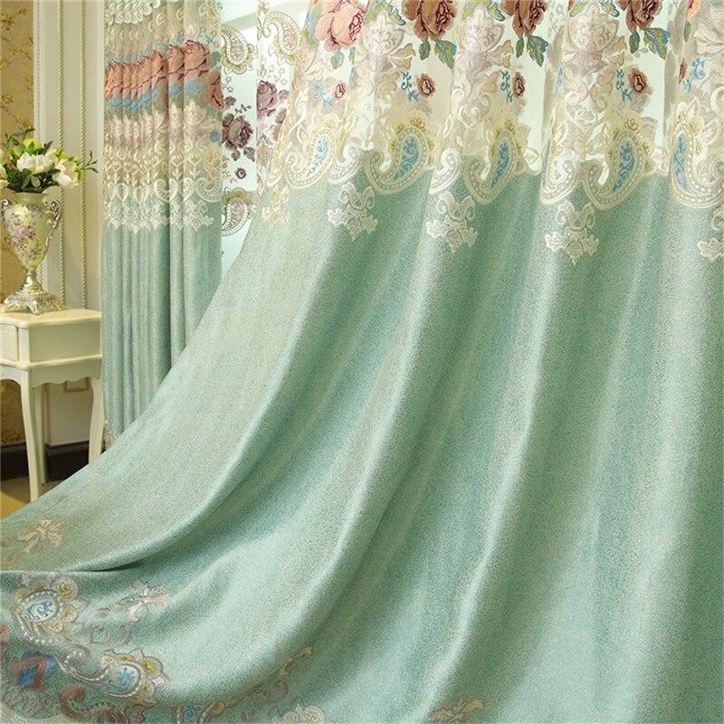 Luxury custom blue European embroidered high shade curtains for Living Room Window Curtain Bedroom Window Curtain Kitchen in Curtains from Home Garden