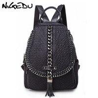 NIGEDU Vintage Chain tassel Women Backpack Genuine Leather School Bags For Teenage Girls Travel Backpack Large Capacity Daypack