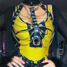 Goth Faux Leather Harness Hollow Out Tank Women Link Chain Crop Top Sexy Rave Festival Choker Party Night Club Lingerie strapon