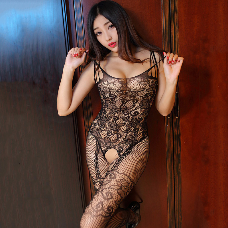 Fasjion Sexy Women Hollow Black Bodystockings Open Crotch Fishnet Jacquard Tights Transparent Ladies Lingerie Eroitc Pantyhose