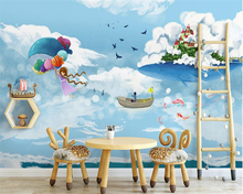 beibehang Nordic creative individuality wall paper watercolor mediterranean ocean whale childrens room background 3d wallpaper