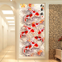 Full Diamond Painting Nine Fish Graph Diy Diamond Embroidery Chinese Style For Pray For Wealth Accumulation