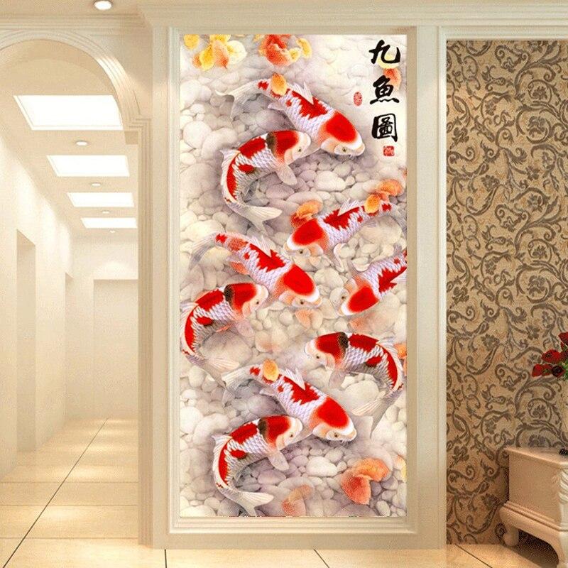 Plein de Diamants Peinture Neuf Poissons Graphique Bricolage Diamant Broderie Chinois Style Prier Pour L'accumulation de Richesses Un Bon Cadeau Pour La Famille
