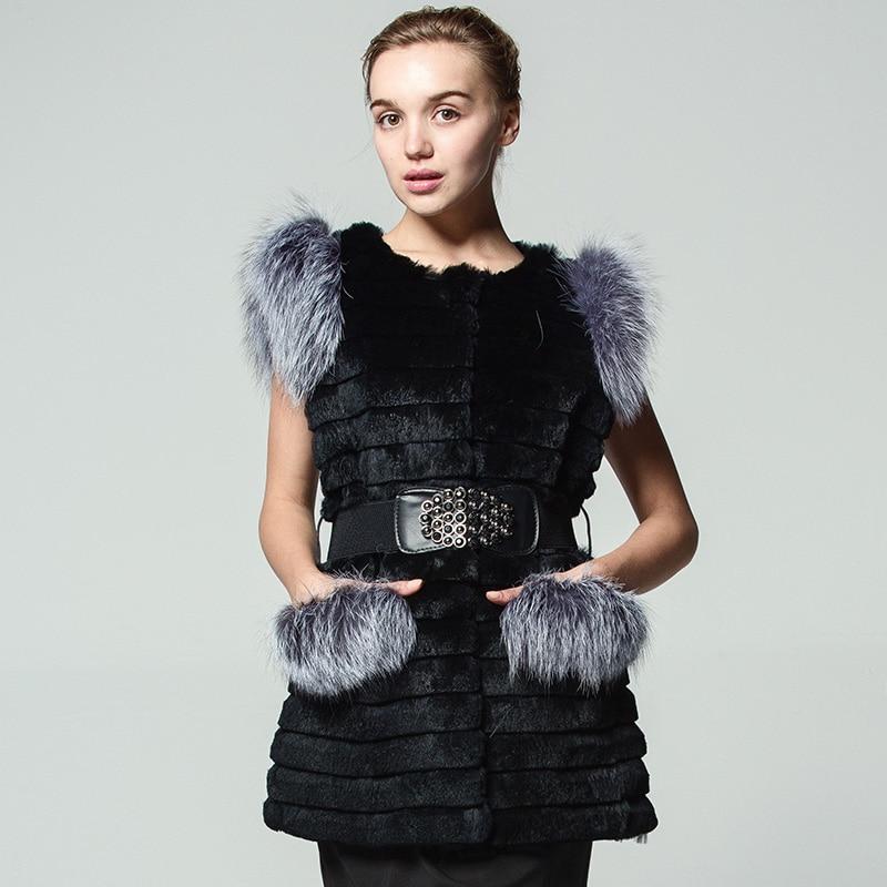 2017 Real Rabbit Fur and Fox skin Vest Pockets Girdle fashion Woman Autumn and winter Round neck black Ženský sex Vest