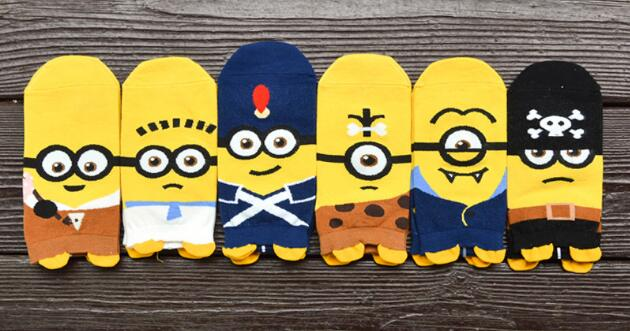 Recommend !! 12Pcs cartoon socks spring funny sock cute Despicable me cotton short socks SM887
