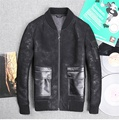 2015 New Men Winter Sheep superficial knowledge integrated Slim Collar locomotive Genuine Leather Leather clothing jacket JSH562