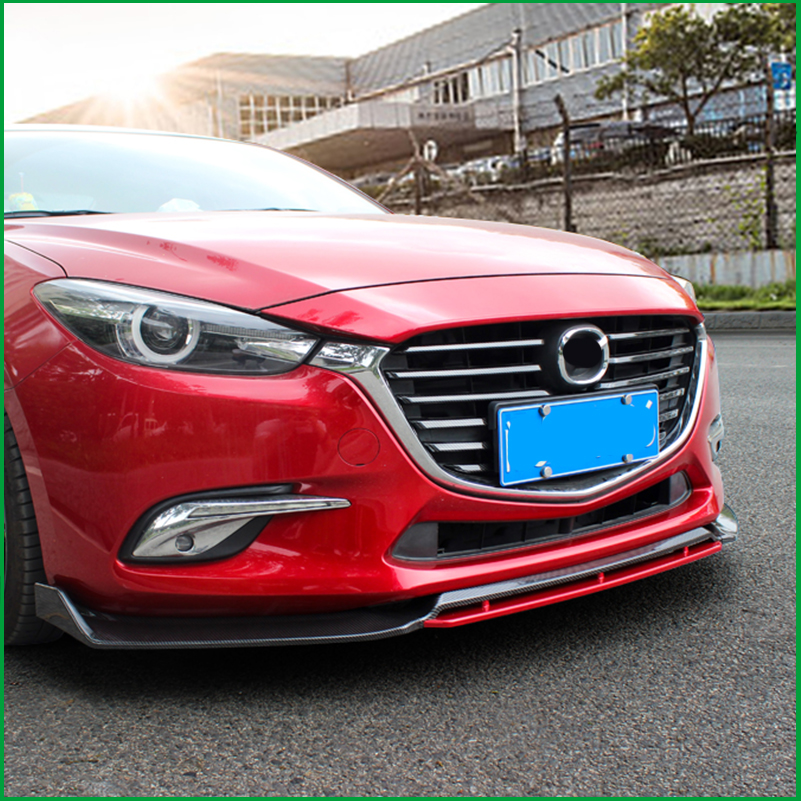 For Mazda 3 M3 Axela 2014-2018 Front Bumper Sport Style Lip Lower Grille Diffuser Protector Plate Spoiler Body Kit Cover Trim