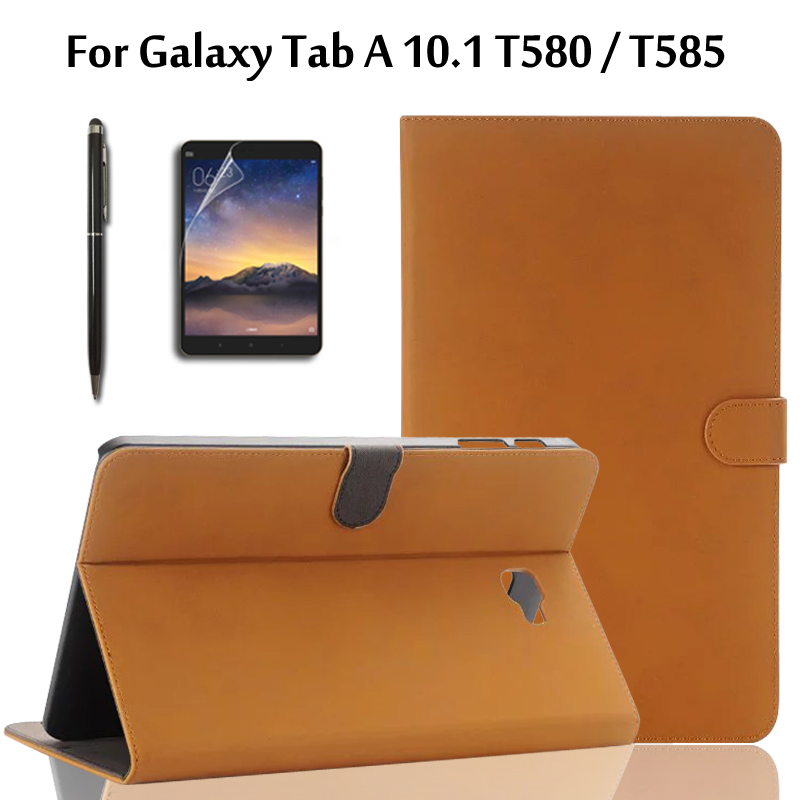 For Samsung Galaxy Tab A 10.1 T580 T585 SM-T580 SM-T585 Tablet Retro Matte PU Leather Cover Shell Case with Stand + Film +Stylus case for samsung galaxy tab a 9 7 t550 inch sm t555 tablet pu leather stand flip sm t550 p550 protective skin cover stylus pen