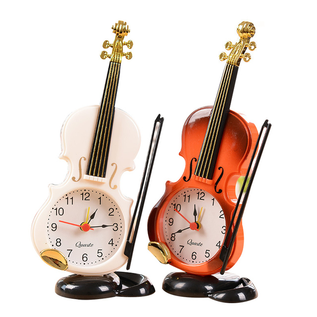 New Arrival Vintage Unique Violin Ancient Desk PO Clock Alarm Clock Office Supplies Home Decor Handmade Crafts Children Gift