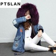 Ptslan 2017 New Fashion Women Luxurious Large Fox Fur Collar Hooded Coat Warm Fox Fur Liner Parkas Long Winter Jacket