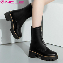 VINLLE 2016 Women Boots Zipper Pointed Toe Square Heel Solid Chains Platform Design Fashion Ladies Mid-Calf Boots Size 34-43