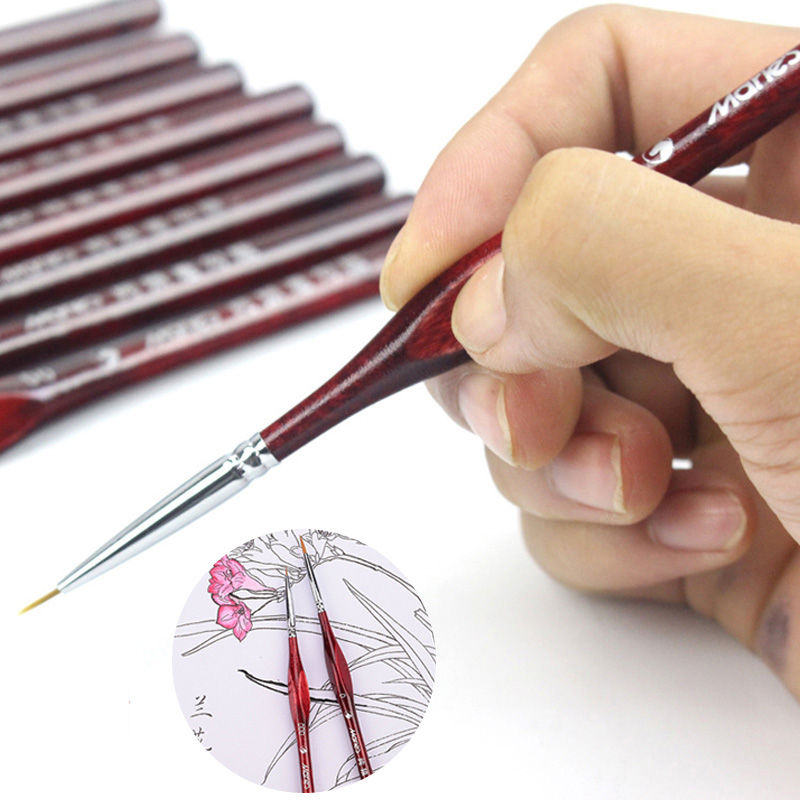 1 Piece Paint Brush Miniature Detail Fineliner Nail Art Drawing Brushes Wolf Half Paint Brushes For Acrylic Painting Supplies image