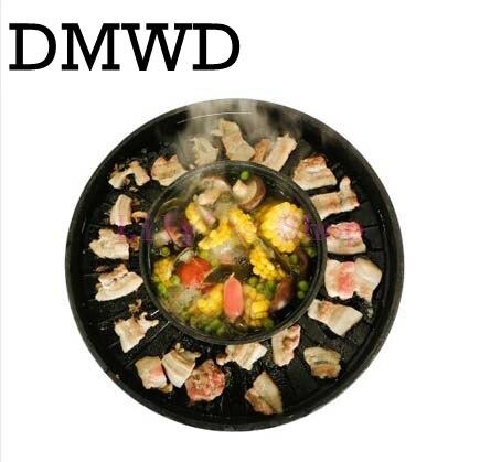 где купить Multifunction Electric grill BBQ One pot shabu pot roast large baking pan versatile cast iron fondue pot to eat two use hot pot по лучшей цене