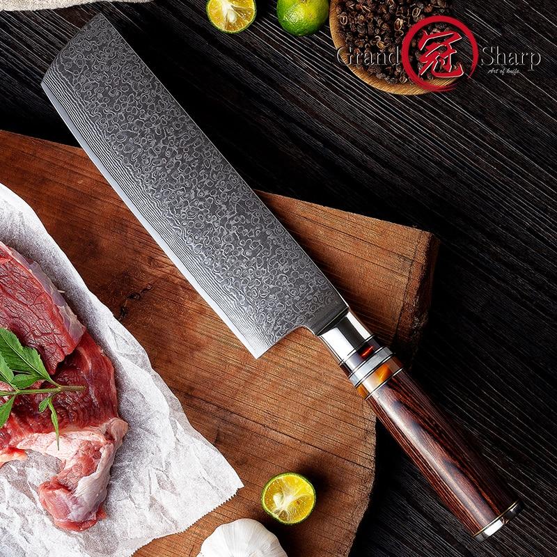 7 Nakiri Knife 67 Layers Carbon Steel Japanese Damascus Stainless Steel Kitchen Knife Chef Vegetable Knife