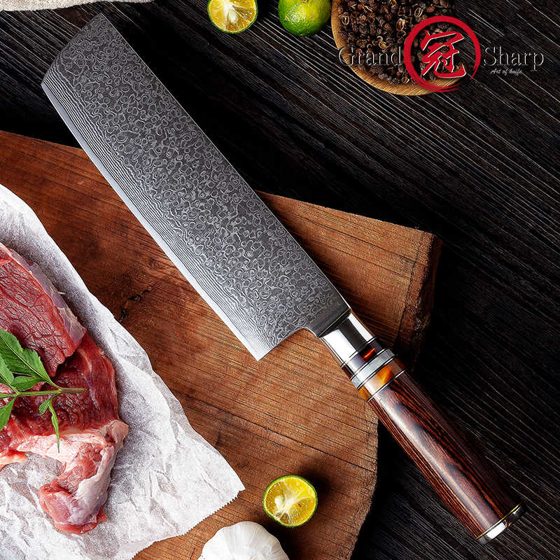 7'' Nakiri Knife 67 Layers Carbon Steel Japanese Damascus Stainless Steel Kitchen Knife Chef Vegetable Knife Gift Box Grandsharp
