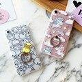 De dibujos animados de moda lindo unicornio lindo pato amarillo anillo cajas del teléfono para el iphone 6 s 6 más 6 6sp contraportadas stand case para iphone 7 7 p