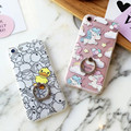 Moda bonito dos desenhos animados do unicórnio bonito pato amarelo anel de casos de telefone para o iphone 6 s 6 mais 6 6bp back covers stand case para iphone 7 7 p