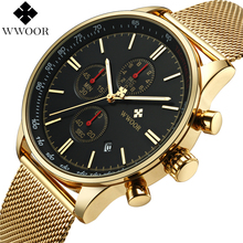WWOOR Top Brand Luxury Mens Watches Business Chronograph Waterproof Gold Stainless Steel Sport Men Quartz Wrist Watch Male Clock