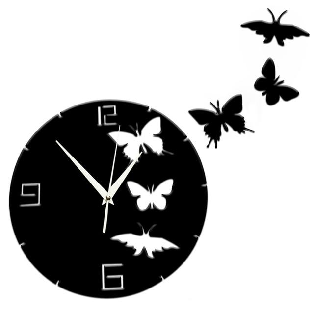 3D Crystal Butterfly Mirror Wall Clock Acrylic Decorative Clock Home Decor