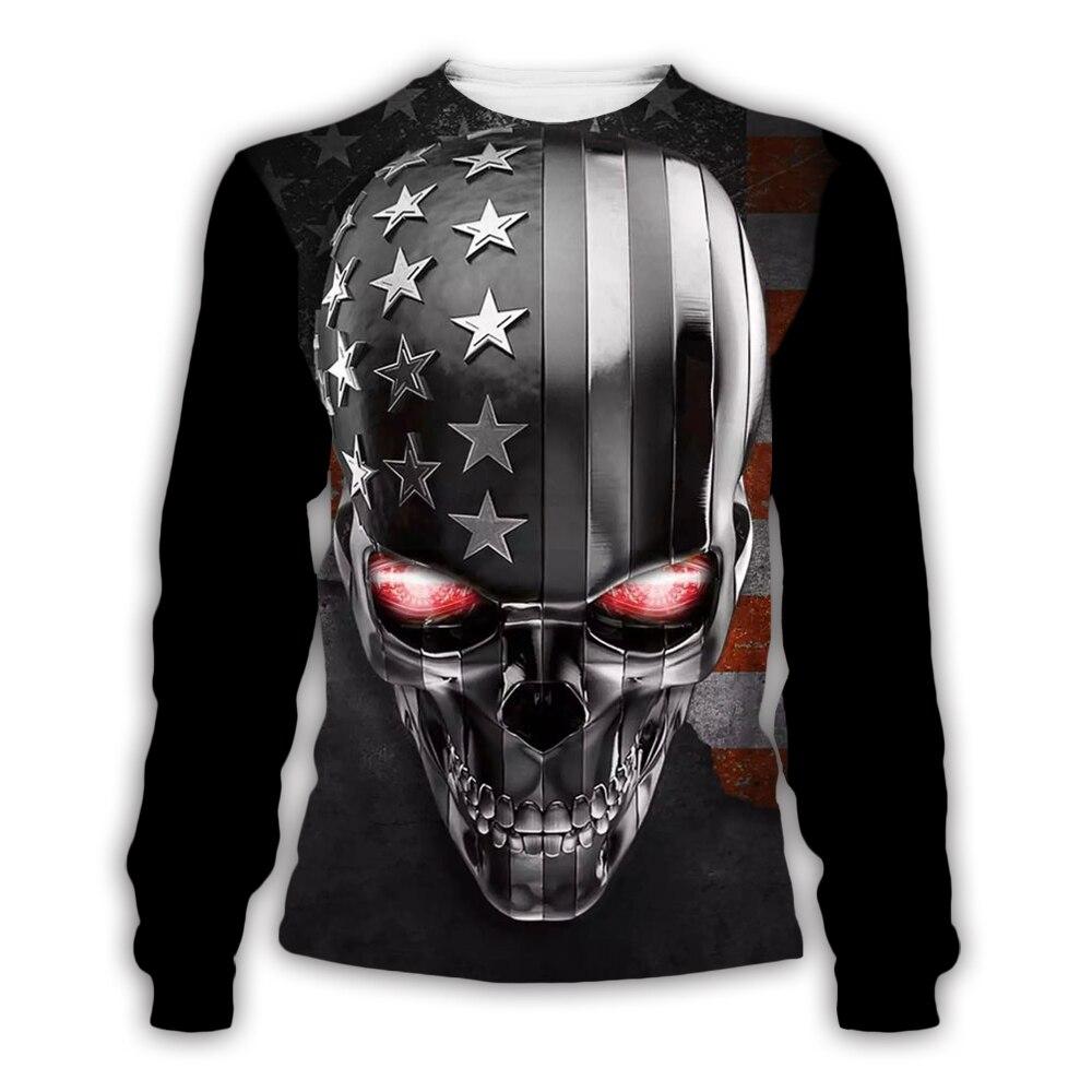 PLstar Cosmos Skull/American Flag 3D Print Hoodie/Sweatshirt/Jacket/Mens For Womens Hip Hop Black Apparel