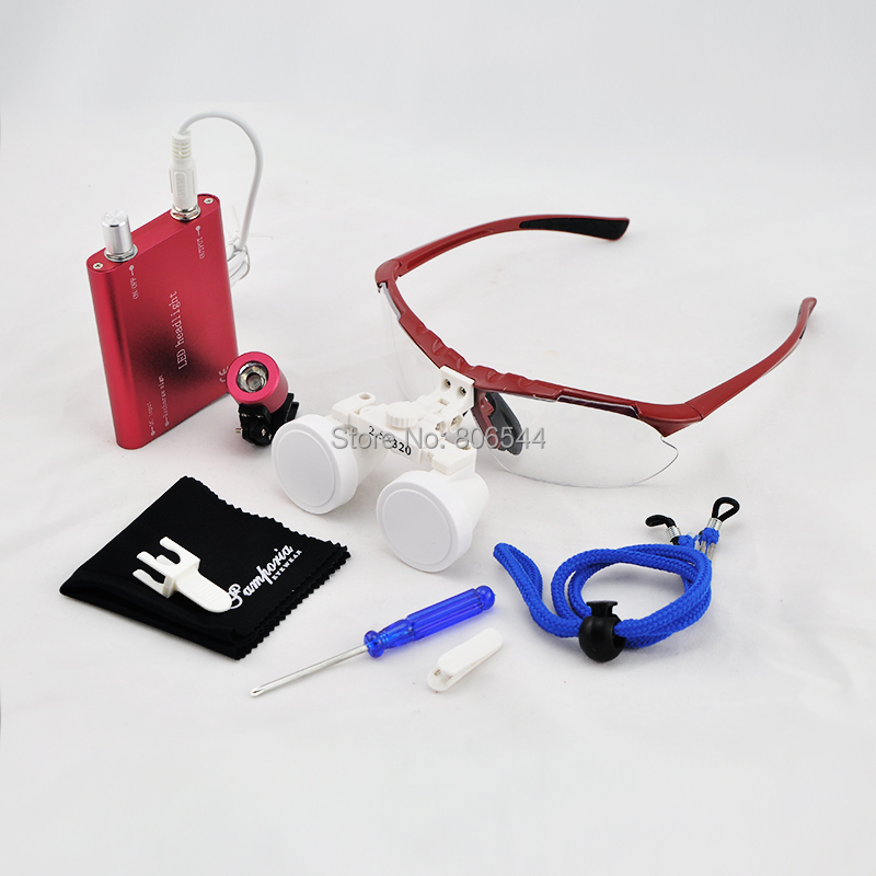 * 2.5x320mm JX-09 Dentist Dental Surgical Medical Binocular Loupes Optical Glass Loupe + Portable LED Head Light Lamp red