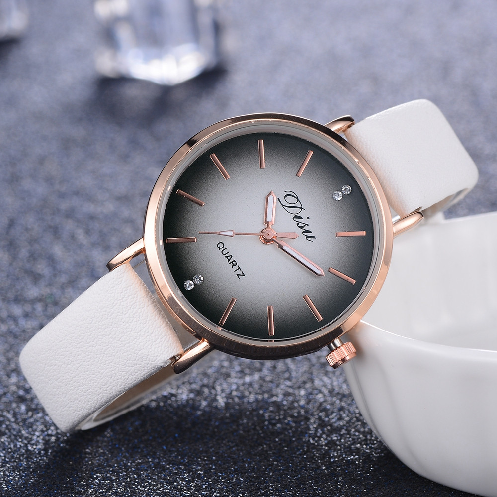 DISU Brand Fashion Creative Women Watch Gradient Rhinestone Casual Watch Leather Belt Ladies Quartz Wrist Watch Gift Clock #A