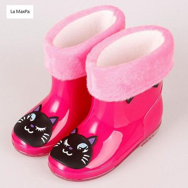 La MaxPa Çocuklar Karikatür yağmur botu Kız Çocuk Wellies Pamuk Kadife Erkek Sonbahar Kış sıcak yağmur çizmeleri Çocuk Botları