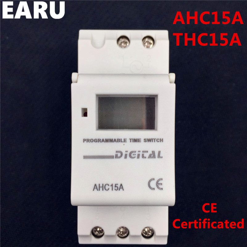 1pc Electronic Weekly 7 Days PROGRAMMABLE Timer THC15A AHC15A Digital Time Timer Switch Relay Din Rail AC DC 12V 24V 110V 220V free shipping 1pcs kg316t ac 220v 25a din rail lcd digital programmable electronic timer switch digital timer controller bs316 page 7