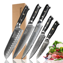 SUNNECKO 5PCS Kitchen Knives Set Damascus Steel Santoku Utility Paring Knife Japanese Cutter Tool G10 Handle Slicing Chef