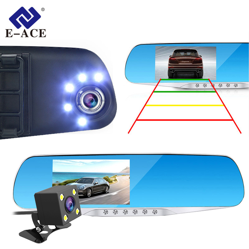 E-ACE Bil ​​Dvr Dash Cam Ryggespeil FHD 1080P Videoopptaker Dual Lens With Rear View Camera Auto Registrator Dashcam DVRs