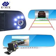 E-ACE Auto Dvr Dash Cam Specchietto retrovisore FHD 1080 P Video Recorder Dual Lens Con Videocamera vista posteriore Auto Registrator Dashcam Dvr