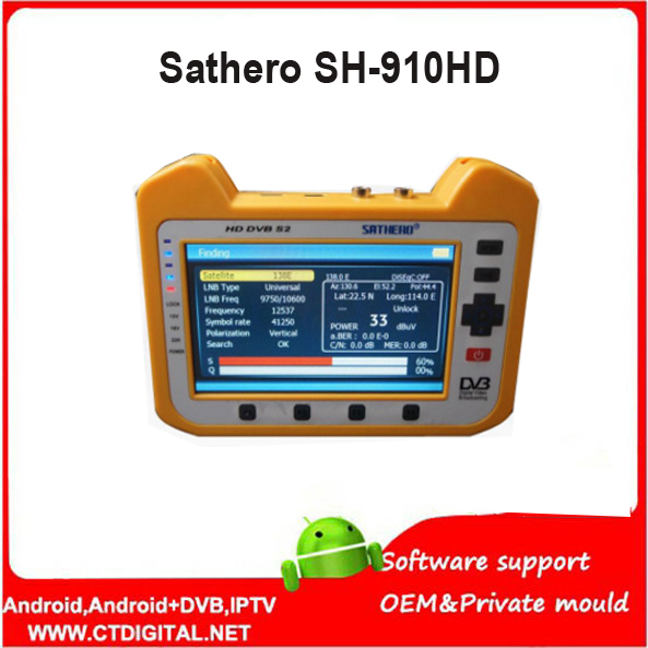 Sathero Digital Satellite Meter SH-910HD Satellite Finder DVB-S2 7 Inch HD LCD Screen With Spectrum Analyzer SH 910HD gt sf9507 2 2 lcd 950 2150mhz mini digital satellite finder w compass blue silver grey
