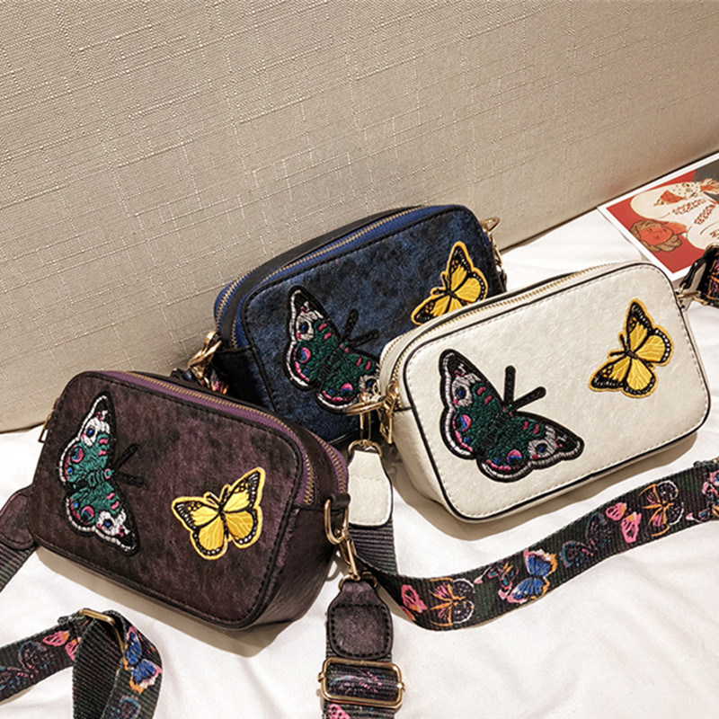 Embroidery Butterfly Women Shoulder Bags Vintage PU Leather Colorful Strap Ladies Messenger Bag Crossbody Female Handbag Bolsa