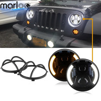 Marloo For Jeep Wrangler JK TJ 7 Inch Led Headlights DRL Amber Turn Signals With Black