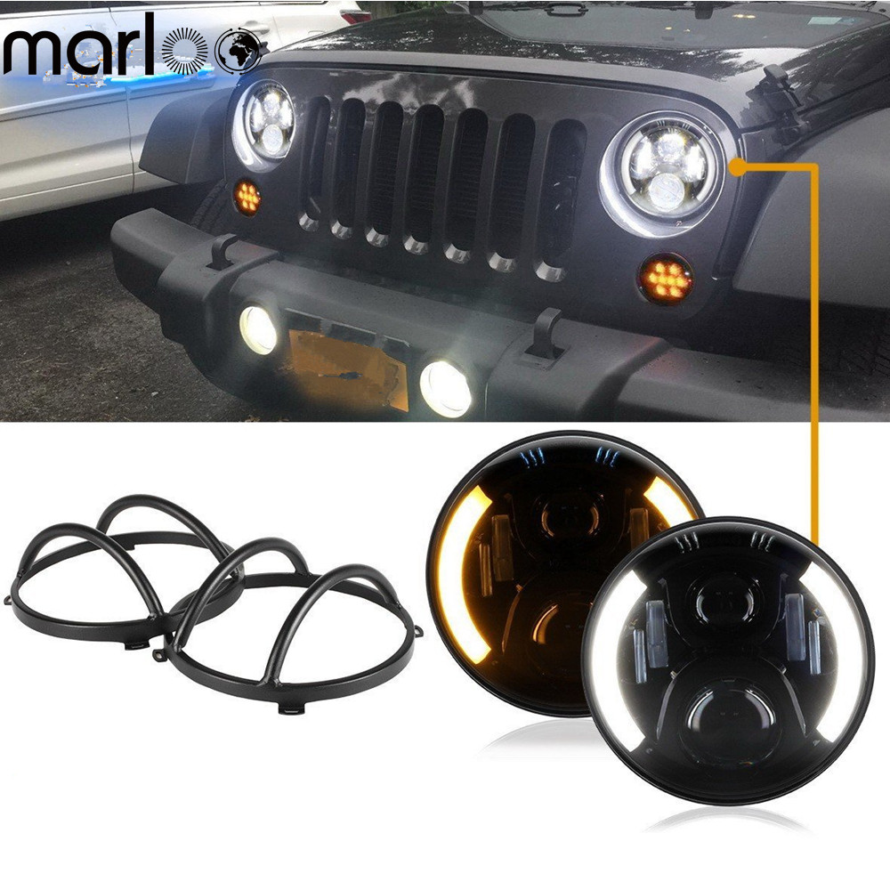Marloo For Jeep Wrangler JK TJ 7 Inch Led Headlights DRL Amber Turn Signals With Black Headlight Protectors Guard Covers Set