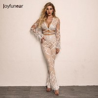 Joyfunear Fashion New Women Two Piece Sequined   Jumpsuit   Two Piece 2018 Sexy Feathers Tassel Rompers Club Party Bodycon Overalls