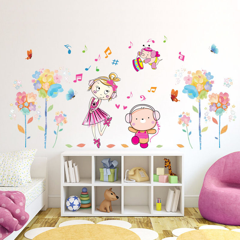 [Fundecor] Steeped in the music of the Boys and Girls Wall Stickers pvc children decals diy kids room home decor