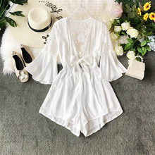Summer 2019 New V-neck Horn Sleeve Tie rompers Broad-legged Short Pants Lace Hollow Couplet Female summer lace ruffle