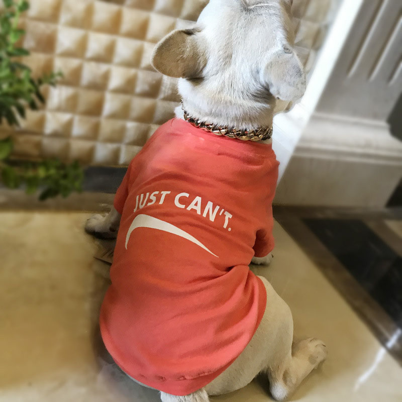 HSWLL Spring and summer tide brand dog clothes cotton and wool terry cotton thin letter pet clothing Teddy French bulldog cloth