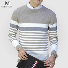 Famous Pullover Gray Cotton Knitted Sweater Men Winter Brand Male Clothing Pull Homme Casual Shark Warm Striped Sweater Outwear
