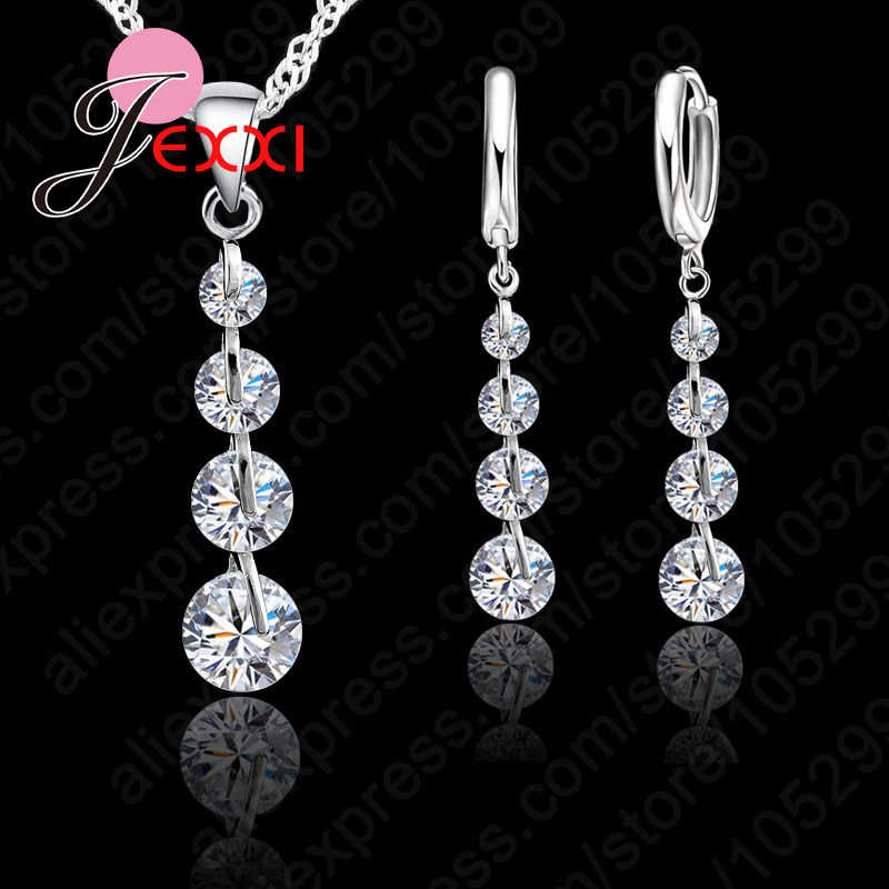 Exqusite Long Crystal Earrings Pendant Necklace Jewelry Set Shiny Zircon Crystal 925 Sterling Silver Top Quality Wedding Bijou